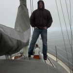 It was a foggy trip out across the bay on Lady Eileen, Jill and Barret's Baba 30