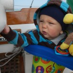 The next day we raced with Sea Scouts. Sullivan was hanging out in the cockpit in his jumper