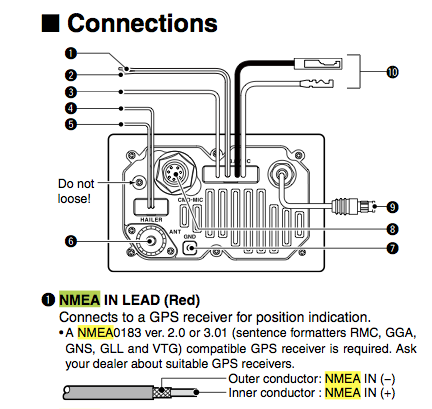 Icom M504 radio NMEA wiring from the online manual