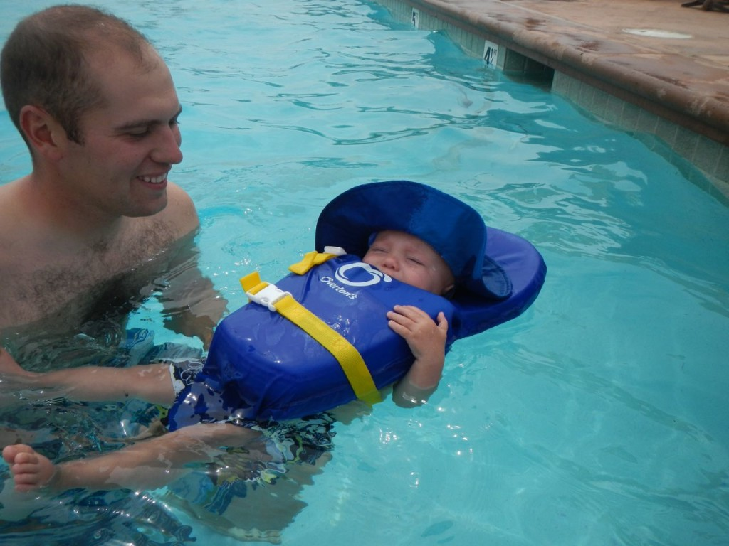 Trying out the life jacket