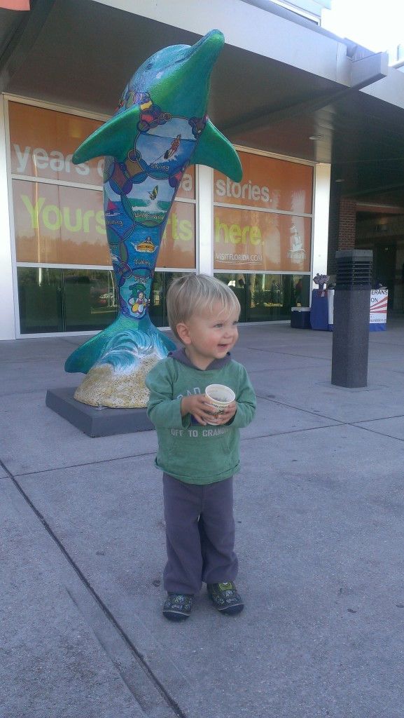 We stopped at the visitor's center at the Florida state line and Sully enjoyed a cup of Florida orange juice