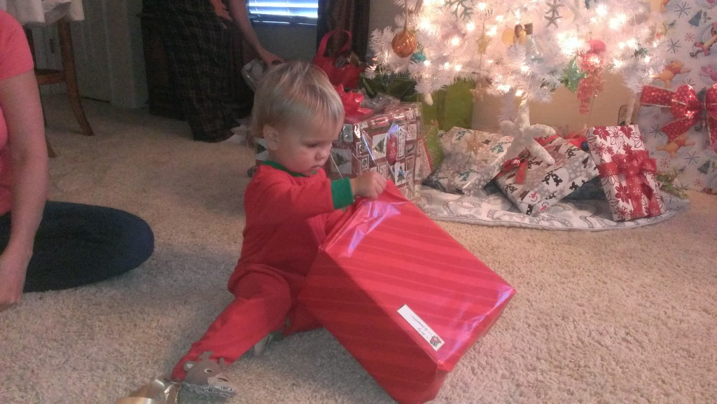 Finally it was Christmas and he could open his presents from under the Christmas tree