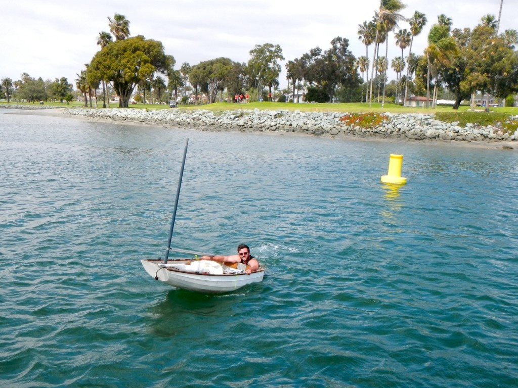 Mike sail tested his dinghy sail kit and the daggerboard broke and he decided to swim it back instead of get a tow