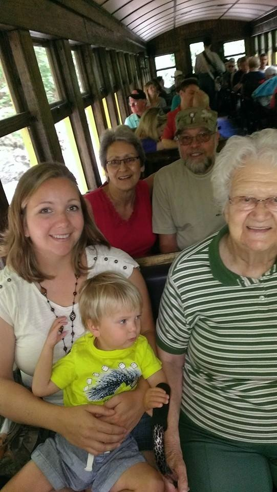 Riding the train with Natalie, Sully, Great Grandma Ness, Nana and Pappy