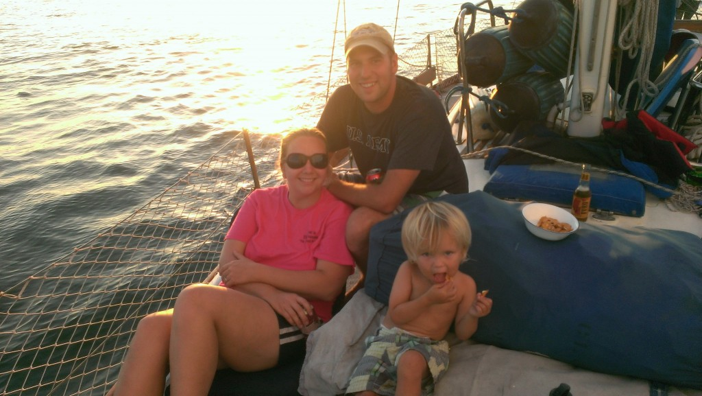 Hanging out on the bow with the family