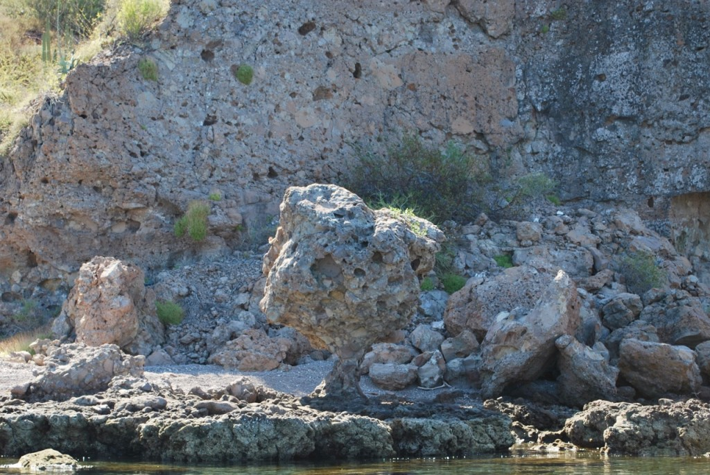 We found this rock in the center of the picture had most of the bottom supporting it eroded away by the sea