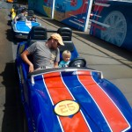 Nate and Sully on the Tomorrowland Speedway