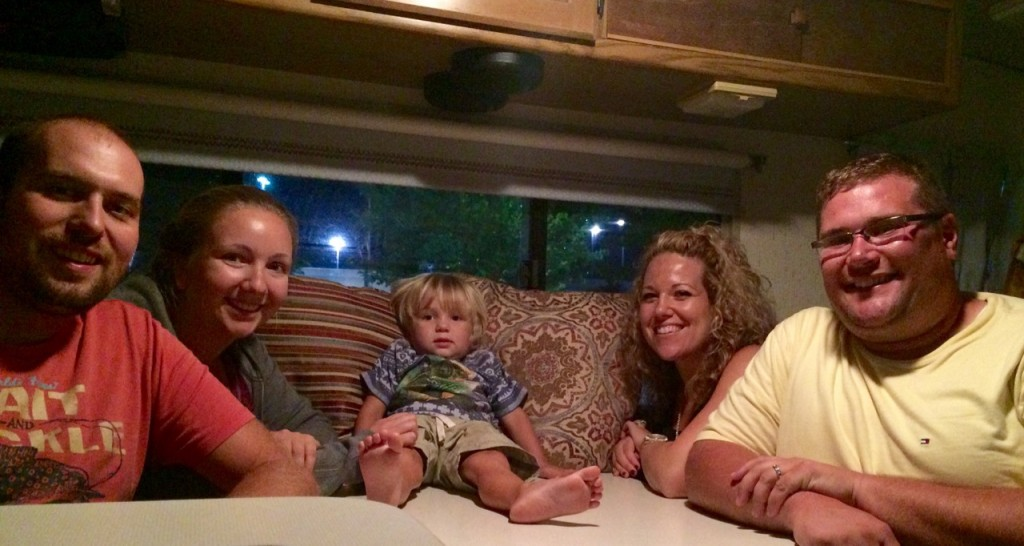 Hanging out in the camper with Lindsay and Adam