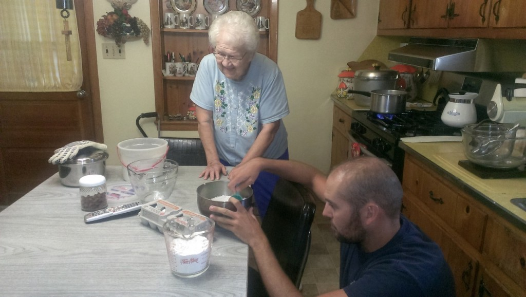 Measuring flour to make the cream puff shells