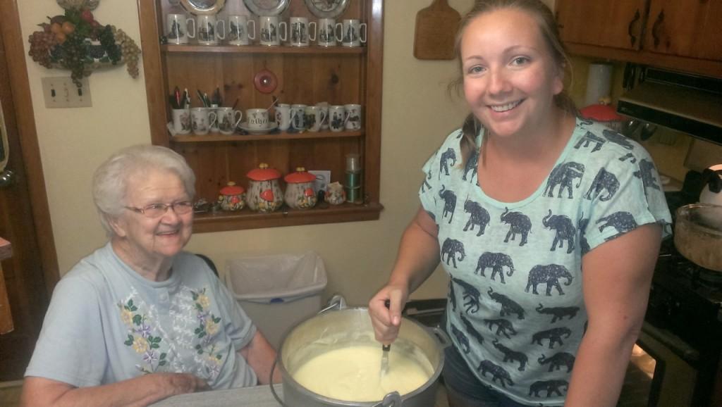Natalie mixing up the custard