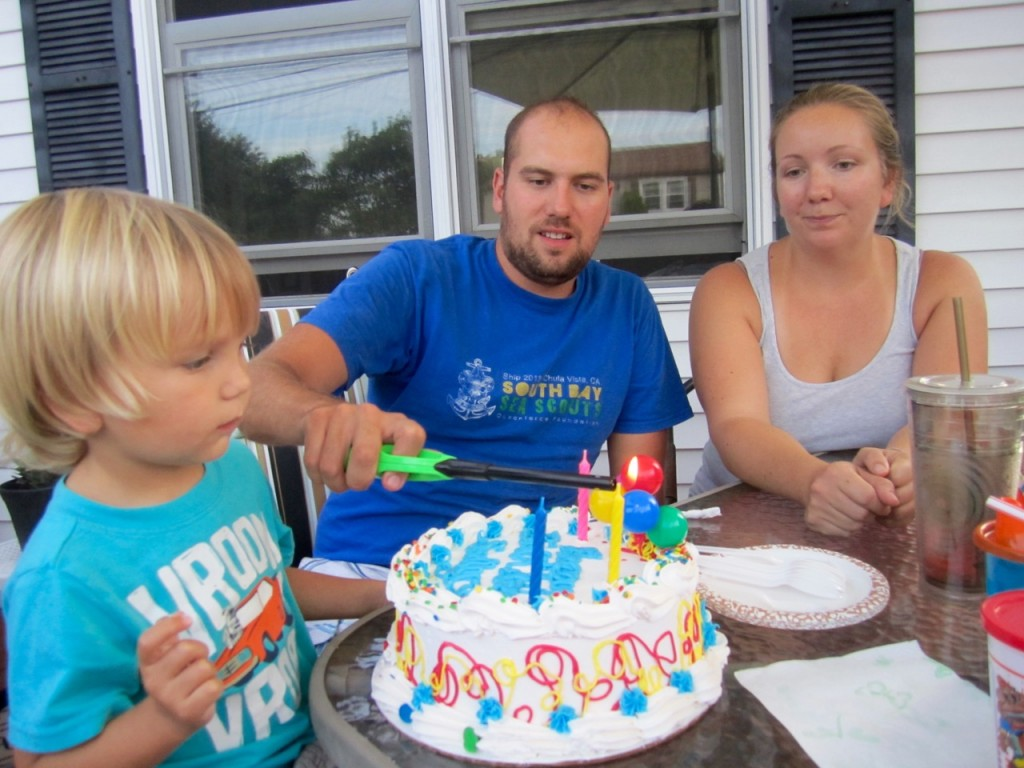 We celebrated Sully's birthday again, but this time with ice cream cake.