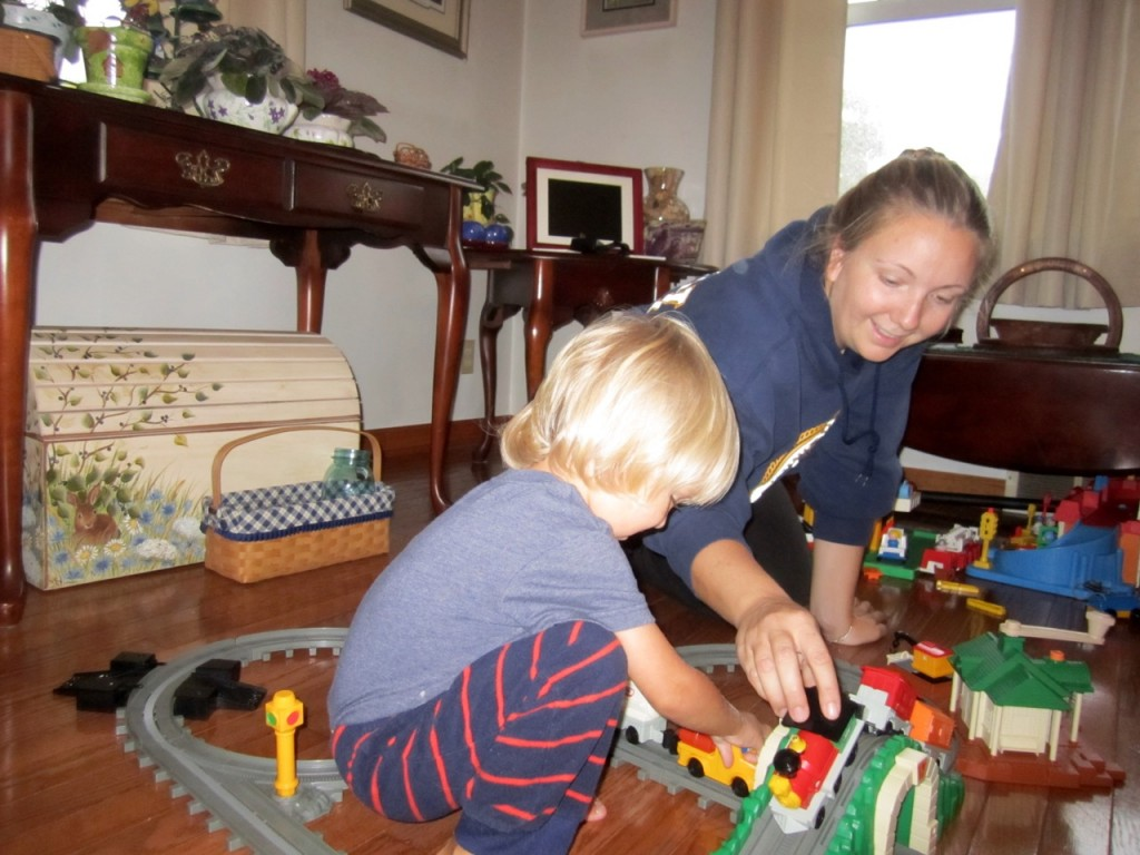 Playing trains with Natalie at Nana and Pappy's house