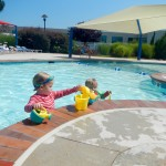 Sully and Bess playing in the pool at the Jewish Community Center in Norfolk, VA