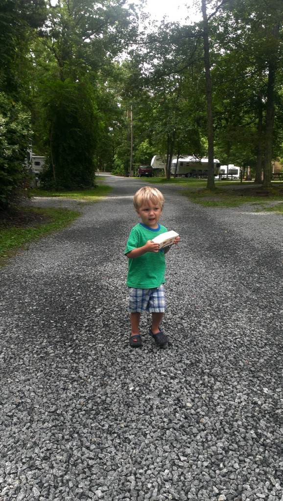 We also walked the trail around and through the campground. Sully found a toy RV at the KOA store so he used some of his birthday money on it as a present.