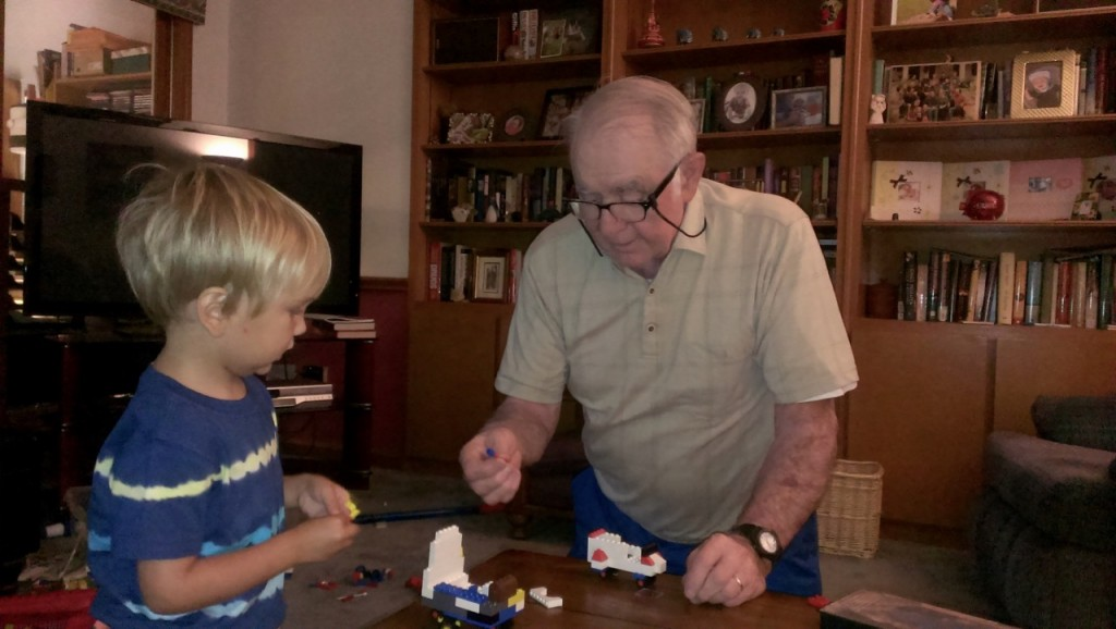 Playing Legos with Great Grandpa Ferring