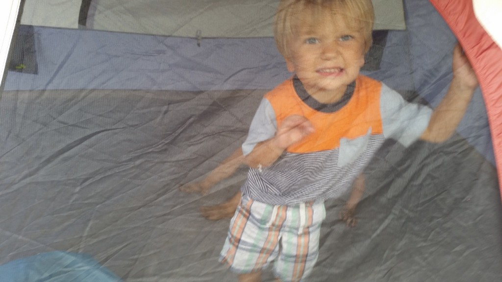 Sully and Elena loved playing inside the tent