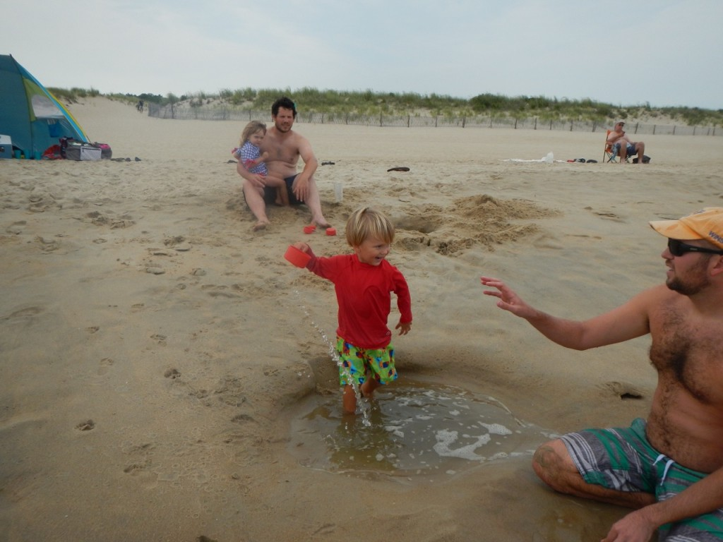 The beach is right on the Atlantic Ocean south of Cape May, New Jersey