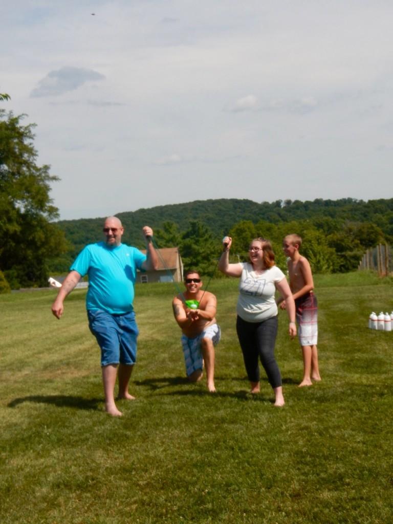 Launching water balloons