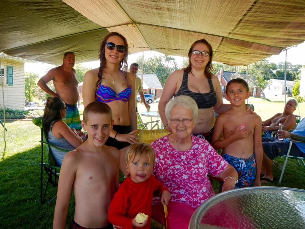 Grandma Ness with the Great Grandkids