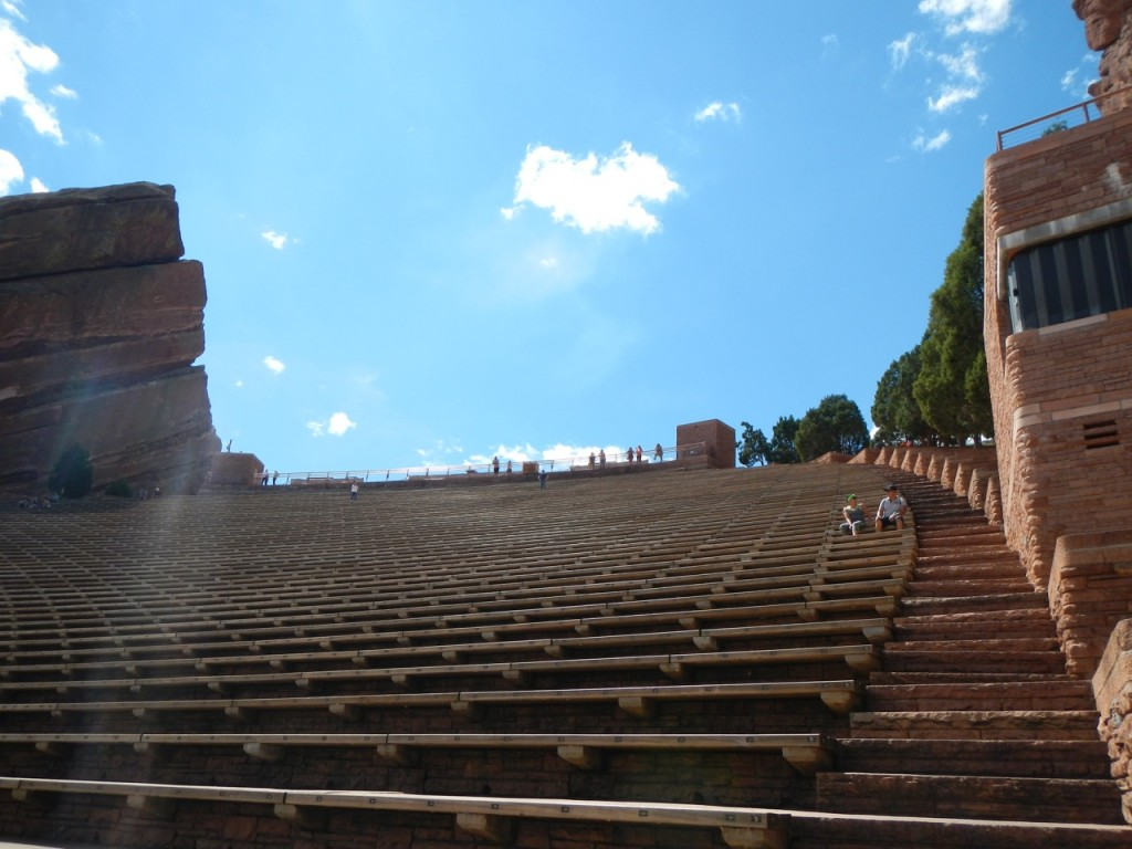 View up to the top. Lots of people come here to run the stairs for exercise.
