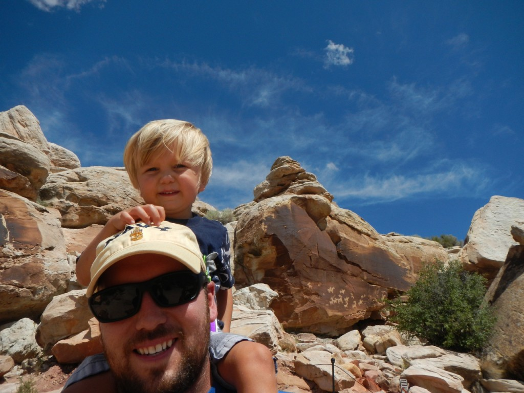 Hiking around and Sully says he's tired, so up on the shoulders he goes