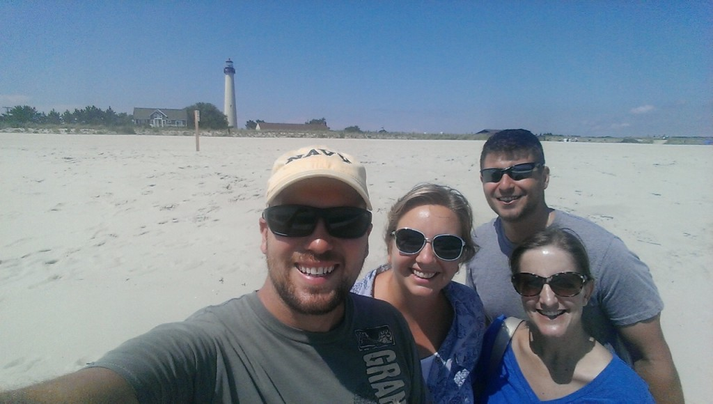 On the beach with Matt and Anna with the Cape May Lighthouse in the background
