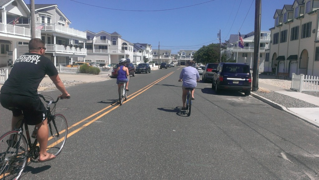 Biking through town towards the beach