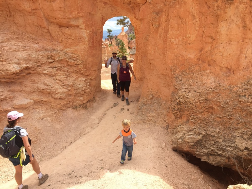 Through a tunnel to continue our hike