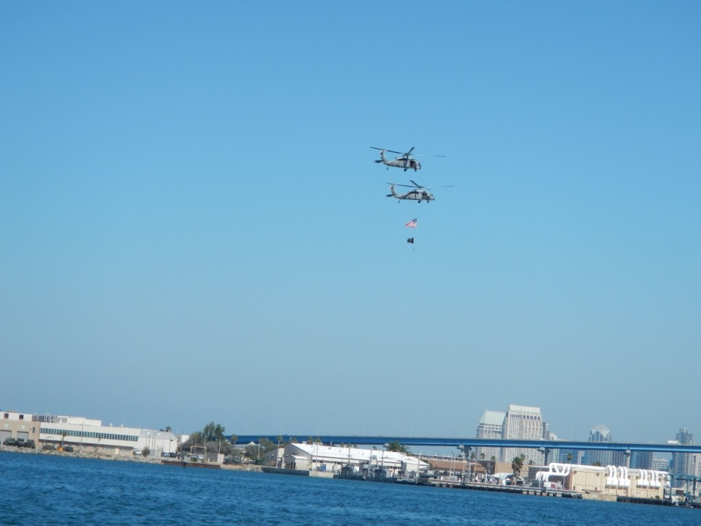 We got a patriotic helicopter fly by from Naval Station North Island