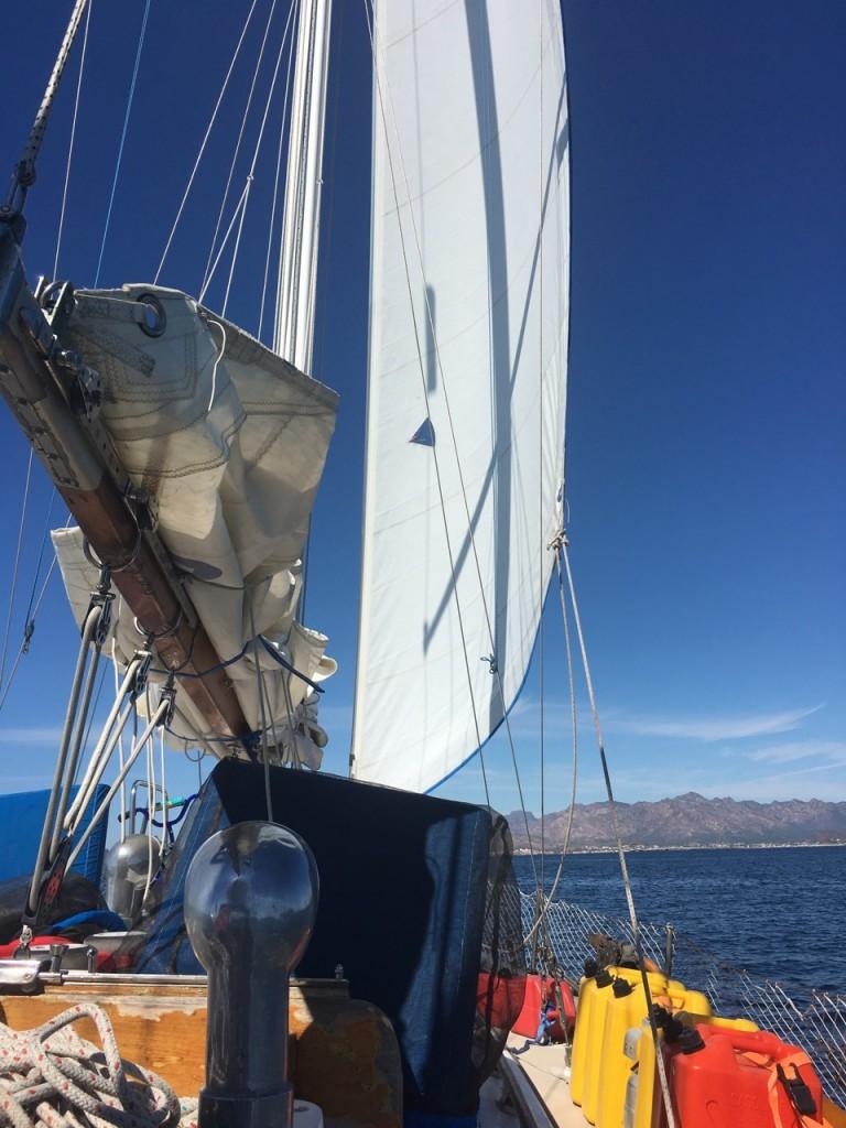 Sailing with the jib unfurled